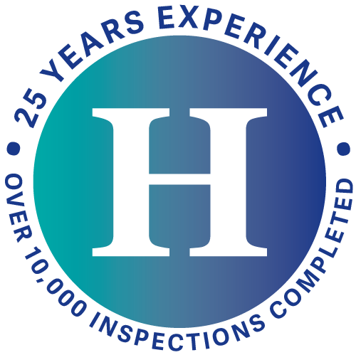 Badge saying 25 years experience and 10,000 inspections completed